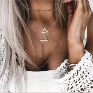 3/$20 SILVER Multilayer Necklace Triangle Bar